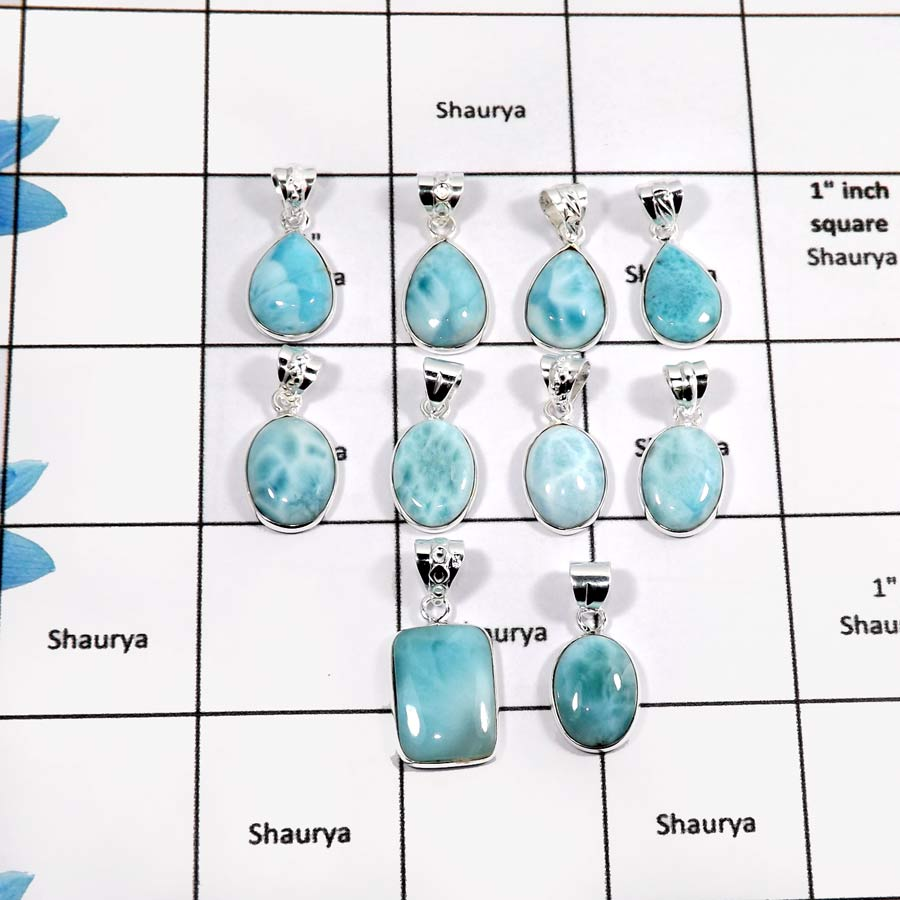 WBG890-10 Pcs Eye Catching Gemstone Larimar Light Weight Bezel Pendant 925 Sterling Silver