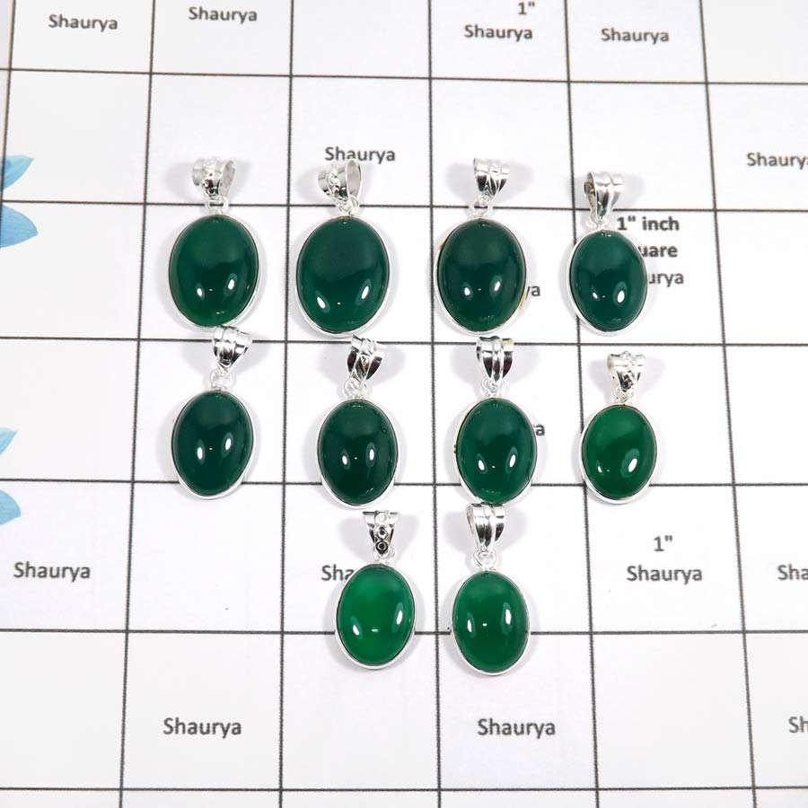 WBG892-10 Pcs Fabulous Gemstone Green Onyx Gemstone Wholesale Bezel Pendants 925 Sterling Silver