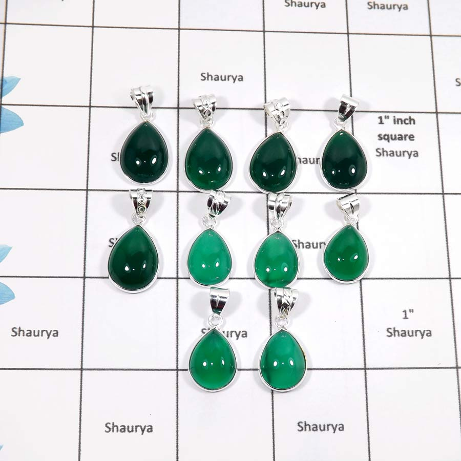 WBG893-10 Pcs Classic Gemstone Green Onyx Factory Wholesale Handmade Bezel Pendants 925 Sterling Silver