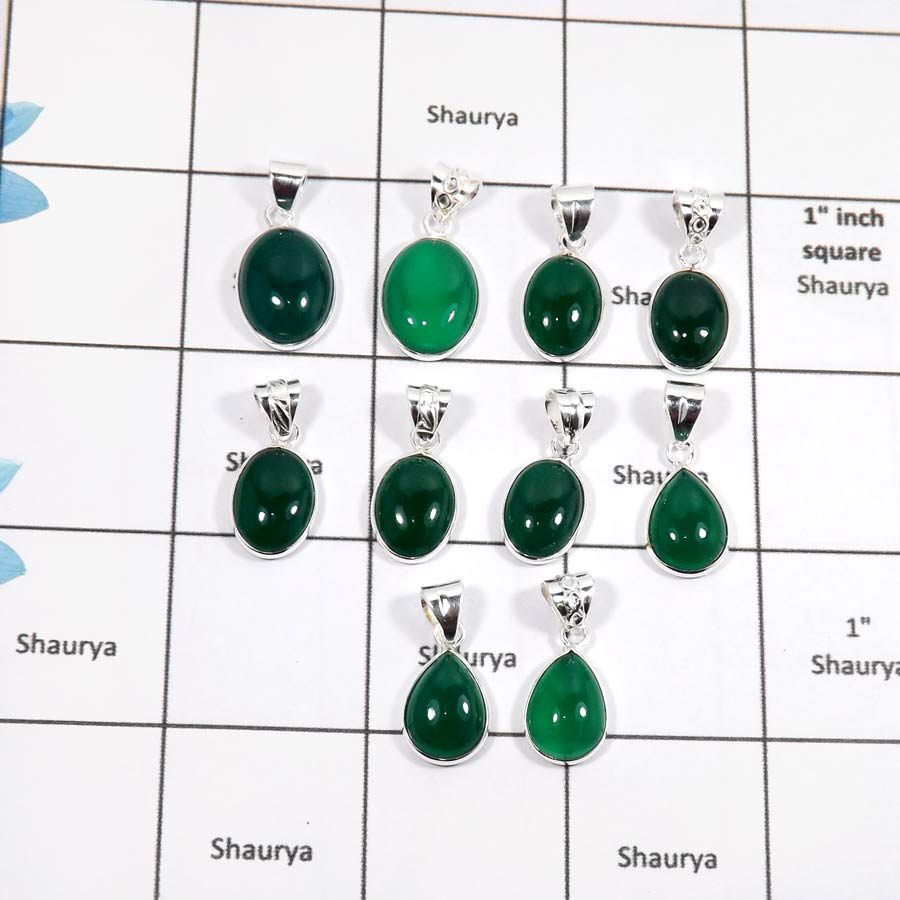 WBG894-10 Pcs Natural Gemstone Green Onyx Light Weight Bezel Pendants 925 Sterling Silver