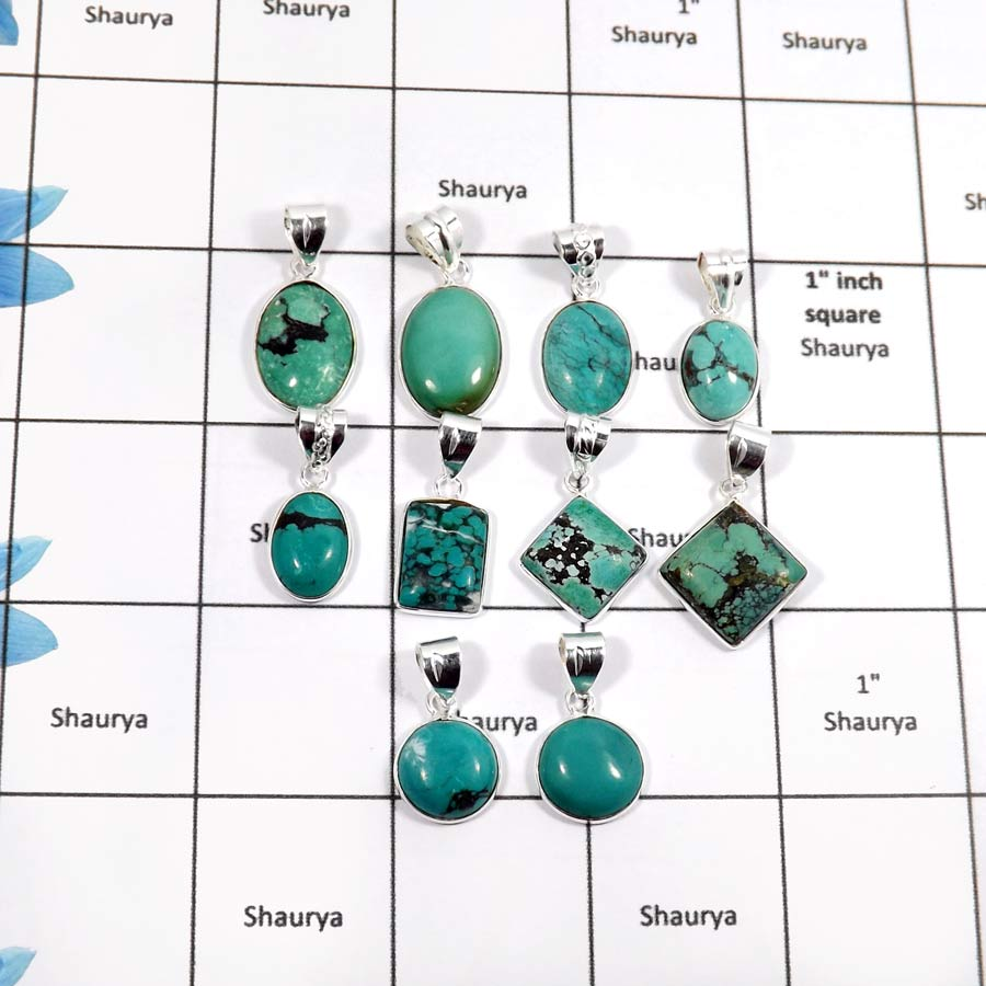 WBG898-10 Pcs Natural Gemstone Tibet Turquoise Light Weight Bezel Pendants 925 Sterling Silver