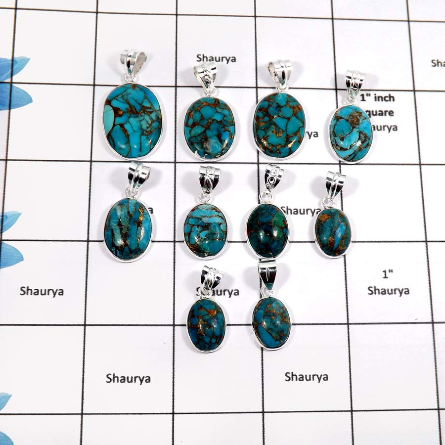 WBG903-10 Pcs Blue Copper Turquoise Gemstone Wholesale Handmade Bezel Pendants 925 Sterling Silver