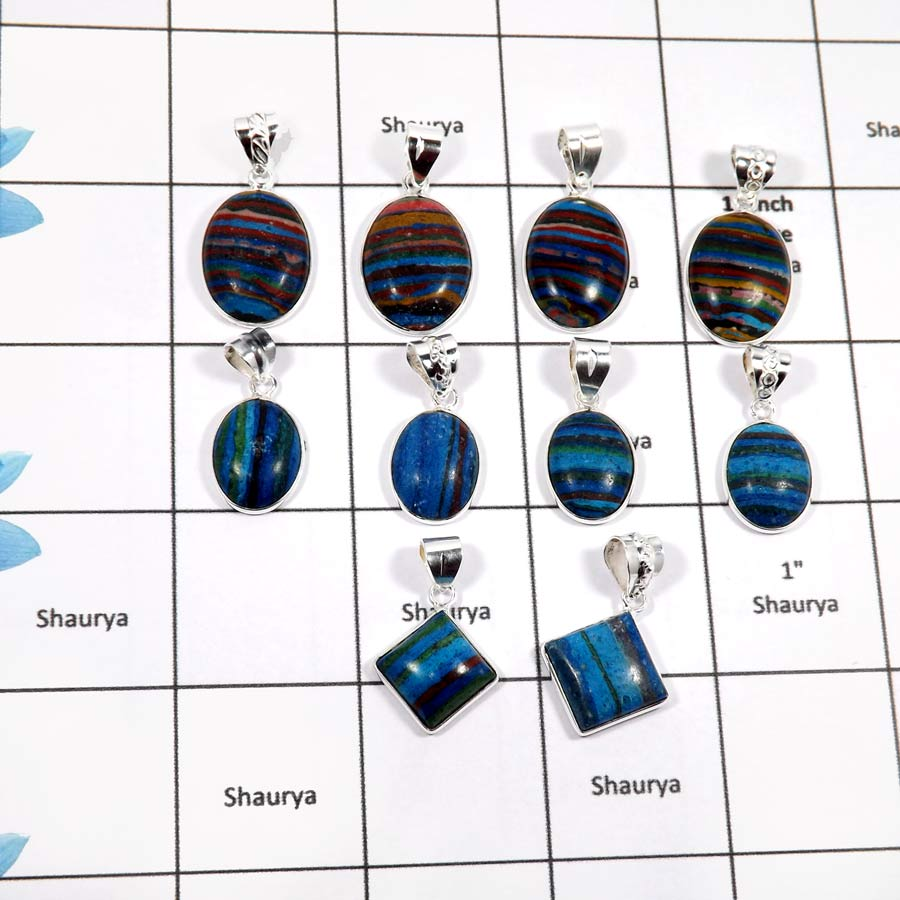 WBG912-10 Pcs Natural Rainbow Calsilica Wholesale Bezel Pendants 925 Sterling Silver
