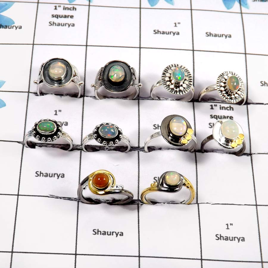 WBG924-10 Pcs Ethiopian Opal With Black Rhodium Wholesale Rings 925 Sterling Silver
