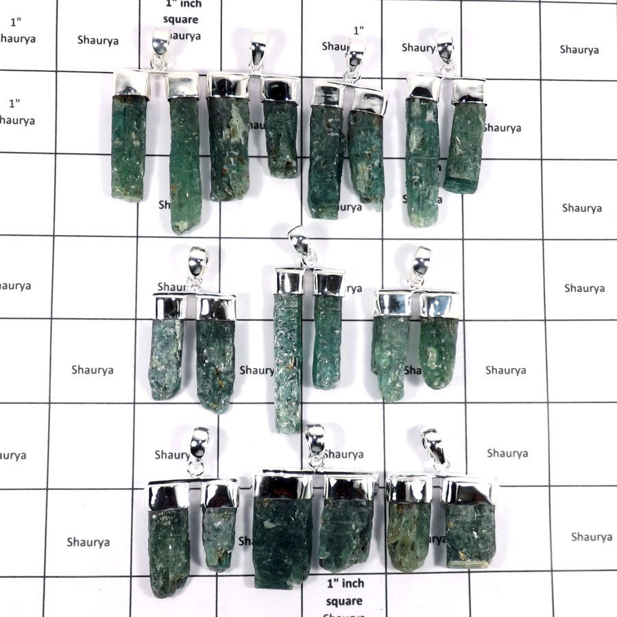 WBG934-10 Pcs 100 Grams Wholesale Lot Green Kyanite Rough Pendants 925 Sterling Silver