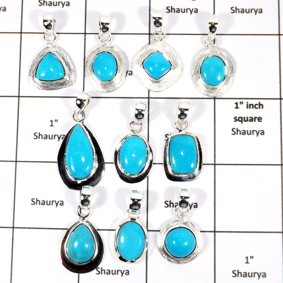 WBG937-10 Pcs 100 Grams Lot Arizona Sleeping Beauty Turquoise Pendants 925 Sterling Silver