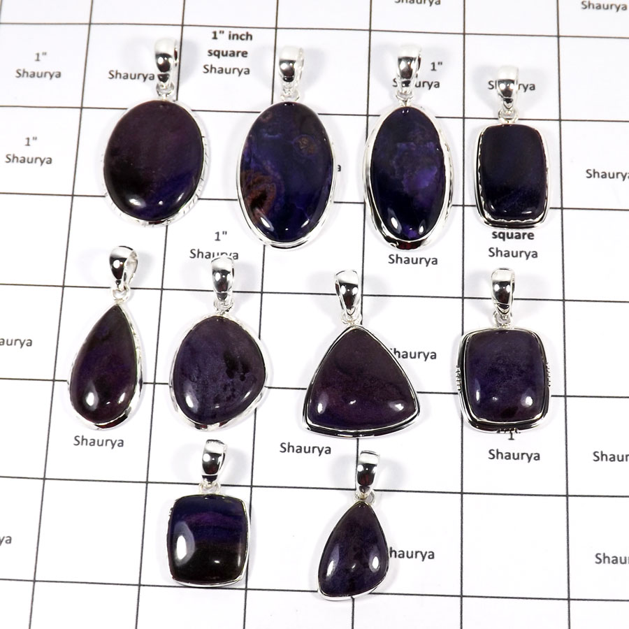 WBG938-10 Pcs 100 Grams Wholesale Lot Sujilite Gemstone Pendants 925 Sterling Silver