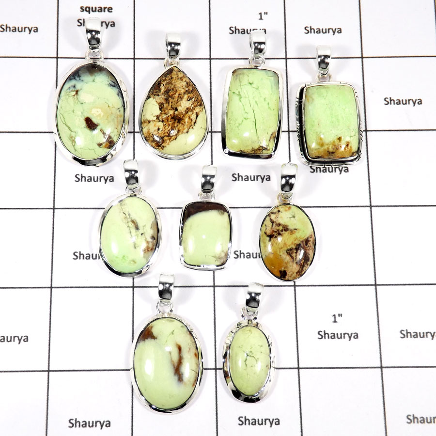 WBG939-10 Pcs 100 Grams Wholesale Lot Lemon Crysophrase Gemstone Pendants 925 Sterling Silver