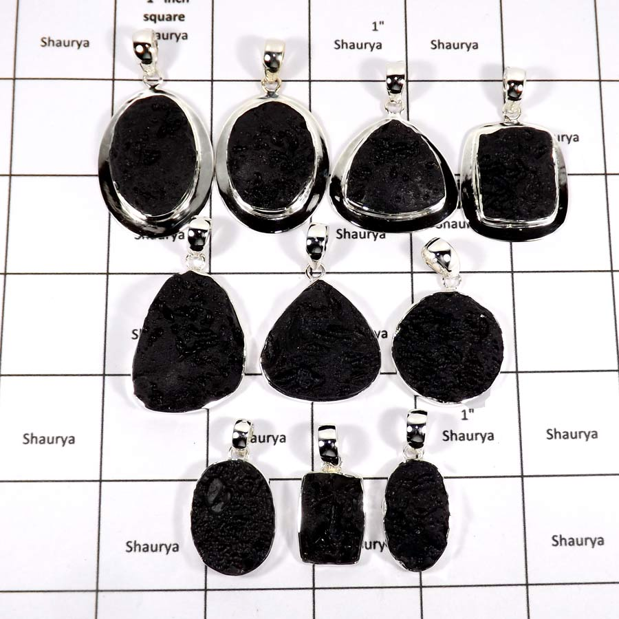 WBG940-10 Pcs 100 Grams Wholesale Lot Natural Black Tektite Druzy Pendants 925 Sterling Silver
