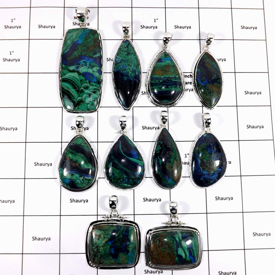 WBG944-10 Pcs 100 Grams Lot Big Azurite Gemstone Pendants 925 Sterling Silver
