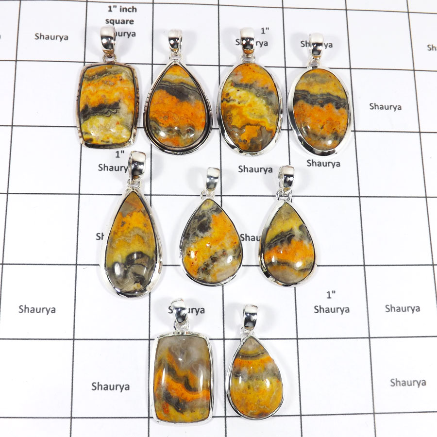 WBG945-10 Pcs 100 Grams Wholesale Lot Bumble Bee Jasper Pendants 925 Sterling Silver