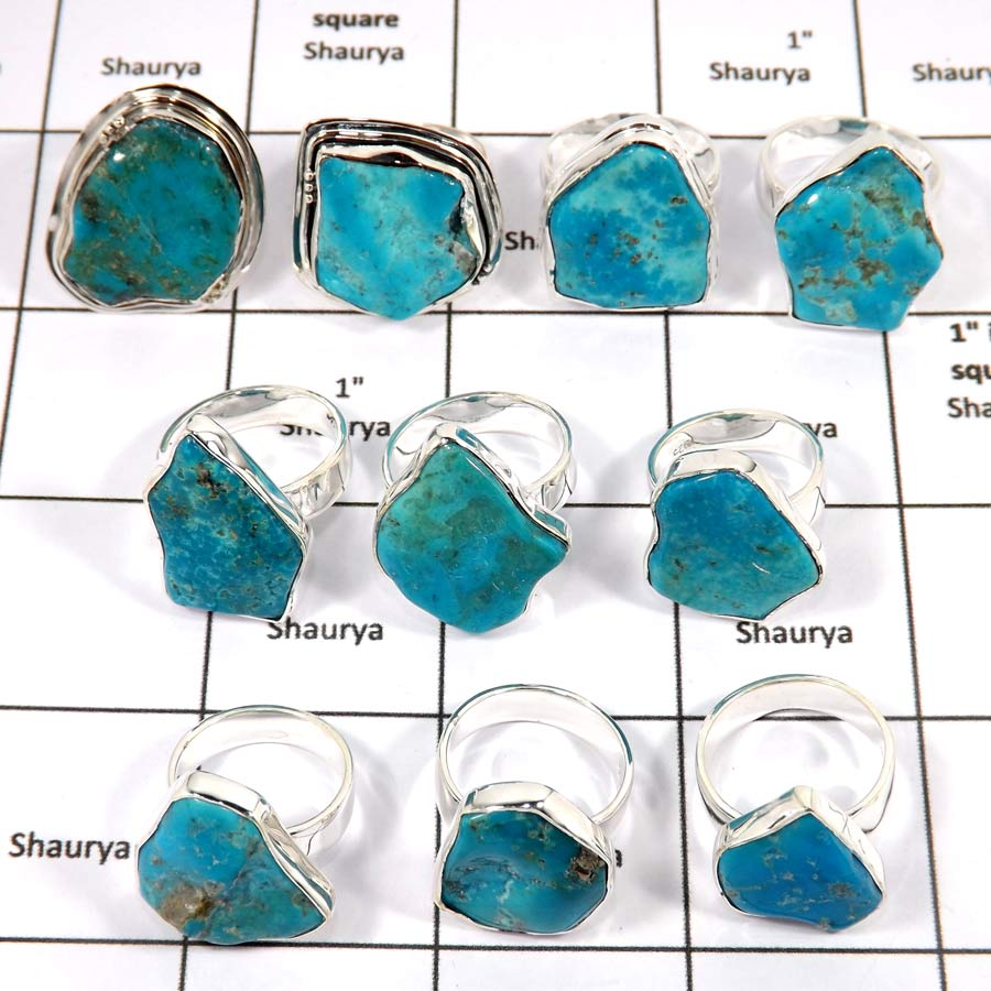 WBG968-10 Pcs 100 Grams Wholesale Lot Arizona Sleeping Beauty Turquoise Gemstone Rings 925 Sterling Silver