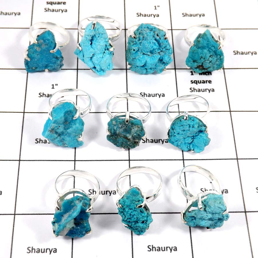 WBG969-10 Pcs 100 Grams Wholesale Lot Arizona Turquoise Rough Prong Setting Ring 925 Sterling Silver