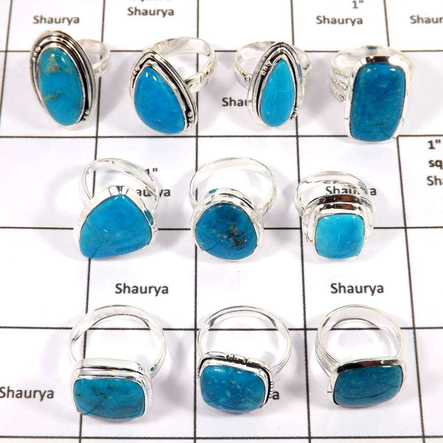 WBG970-10 Pcs 100 Grams Rings Lot Arizona Sleeping Beauty Turquoise Gemstone Rings 925 Sterling Silver