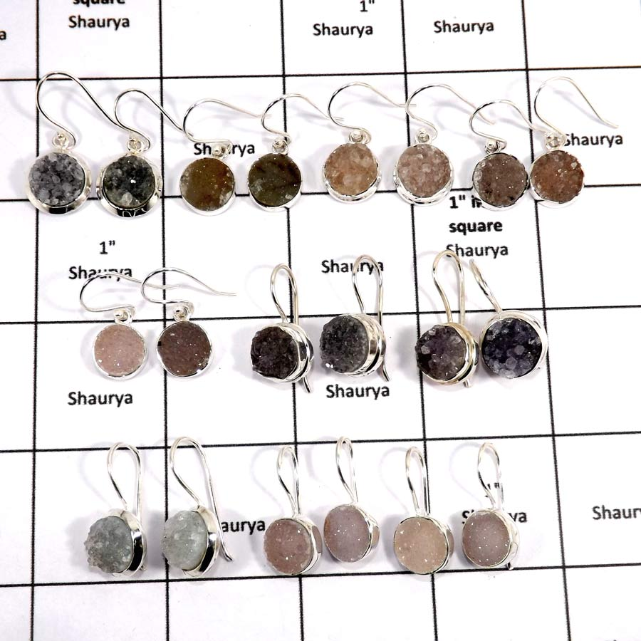 WBG996-20 To 25 Pairs 100 Grams Lot Natural Druzy Earrings 925 Sterling Silver