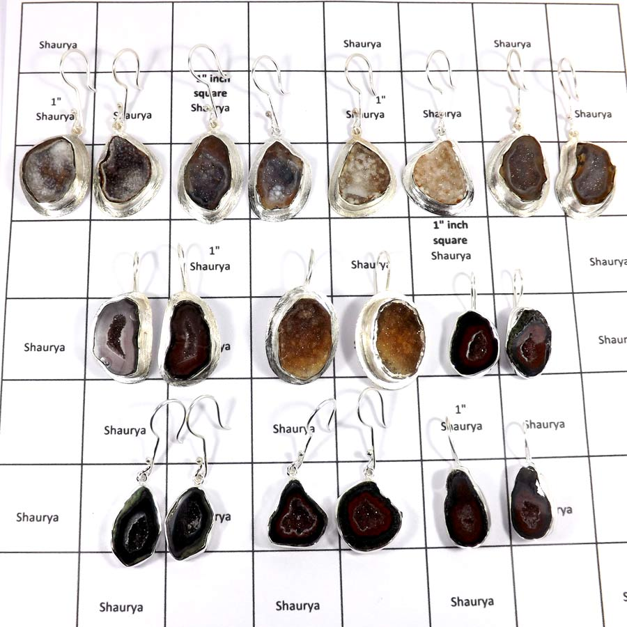 WBG998-10 To 11 Pair Earrings 100 Grams Lot Baby Geodge Gemstone Wholesale Lot