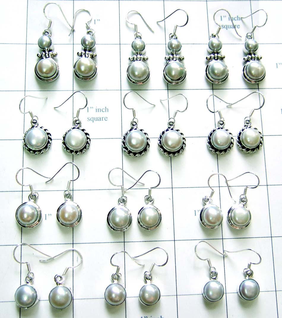 Wholesale silver pearl Esrrings-WLJSE004