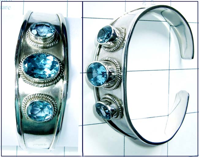 Sterling silver Blue Topaz Bangle-jsbn016