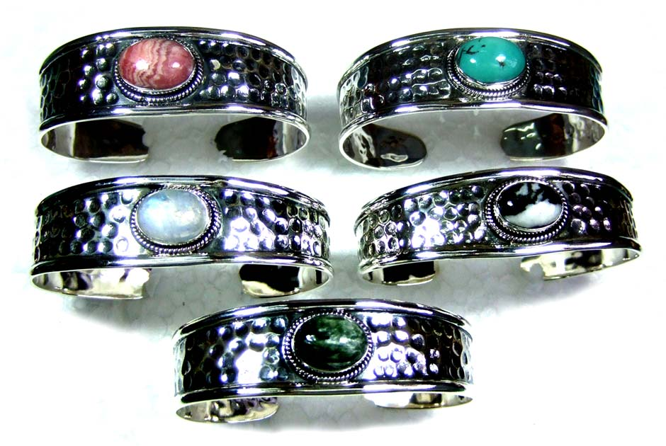 5 Pcs Sterling hammered Bangles-jybn006
