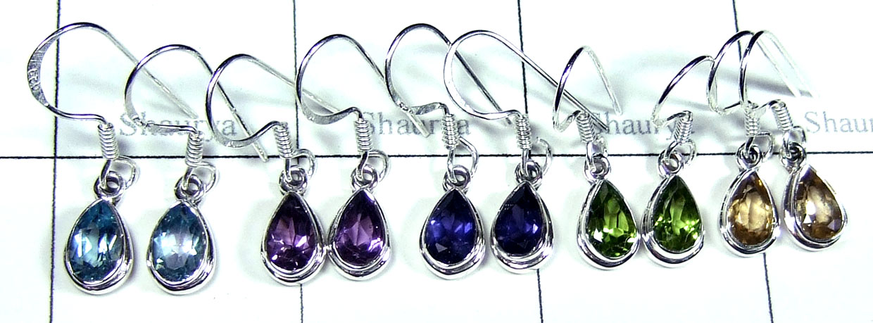 Wholesale silver faceted earrings-jye013