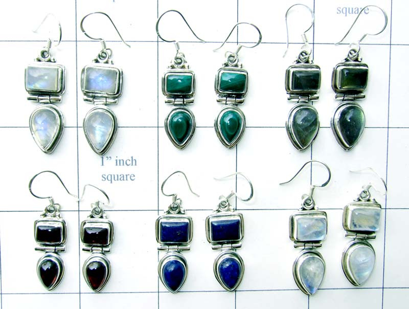 Wholesale silver faceted earrings-jye014