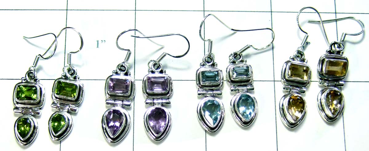 Wholesale silver gems earrings-jye016