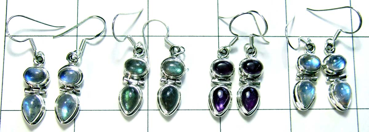 Wholesale silver gems earrings-jye018