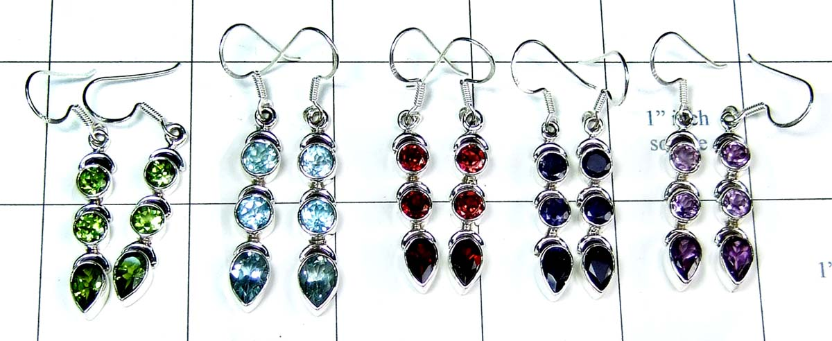 Semiprecious wholesale 5 Pair gems Earrings-jye053