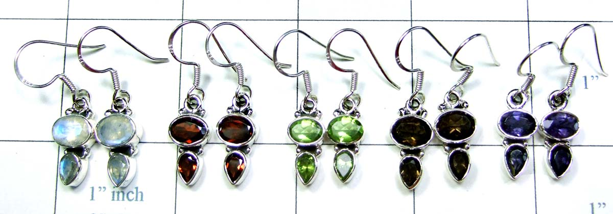 Exclusive Sterling silver gems Earrings 5 Pcs-jye070