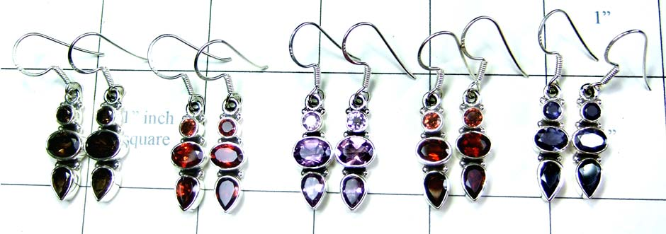 Sterling silver gems Earrings-jye077