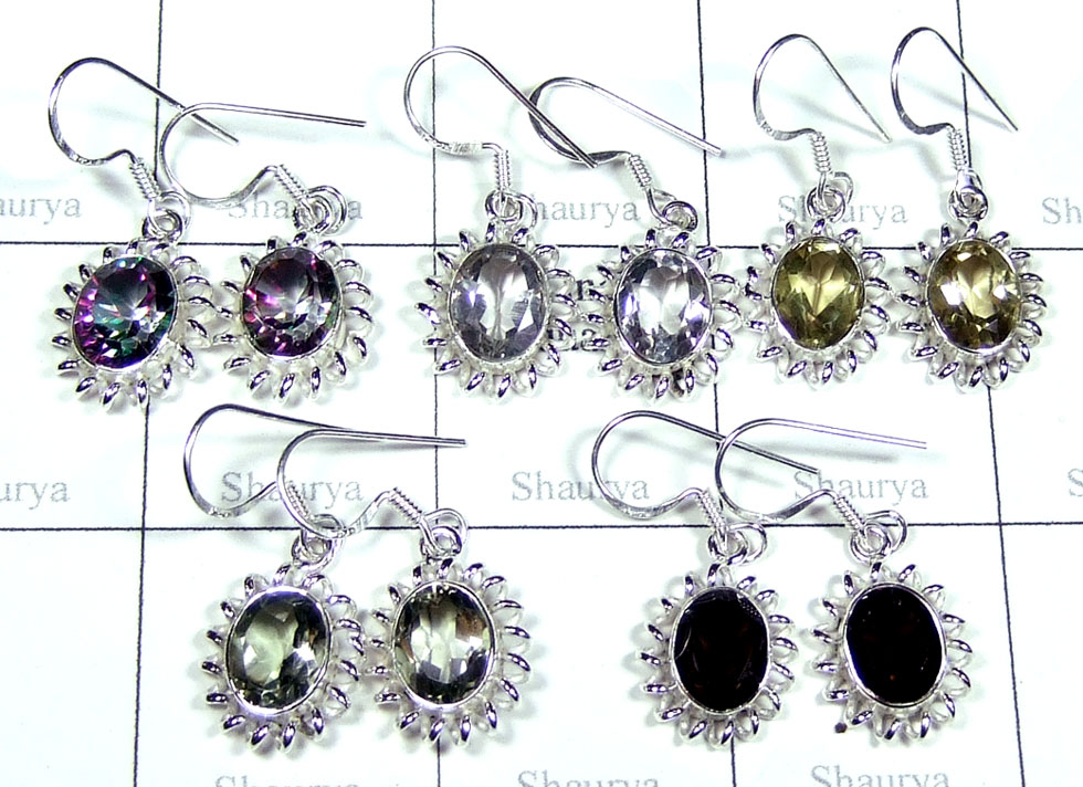Sterling silver gems Earrings-jye084