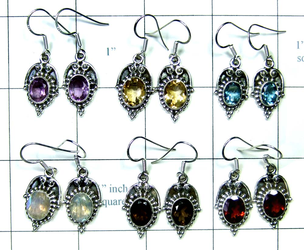 6 Pair Cut Stone Earrings-jye121