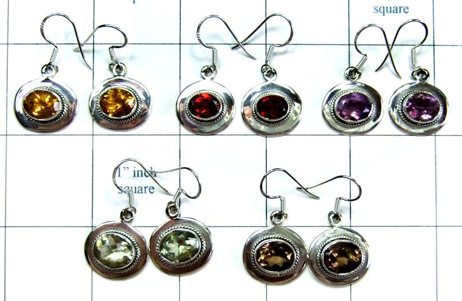 5 Pair Cut Stone Earrings-jye122
