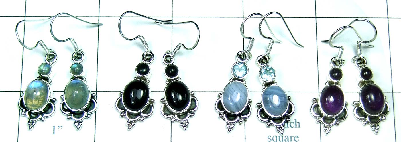4 Pair Cab Stone Earrings-jye135
