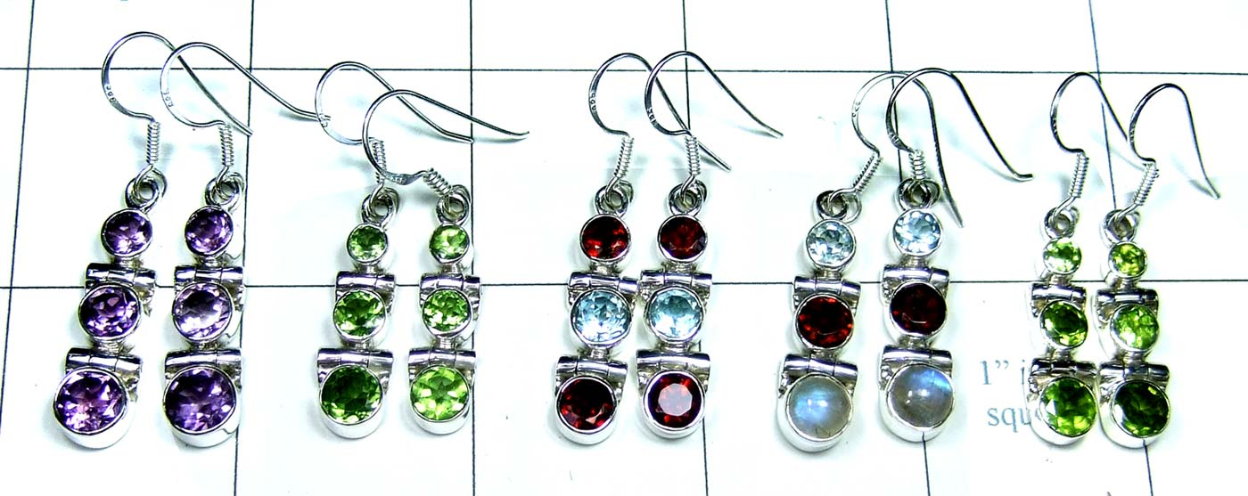 5 Pair Cut Stone Earrings-jye142
