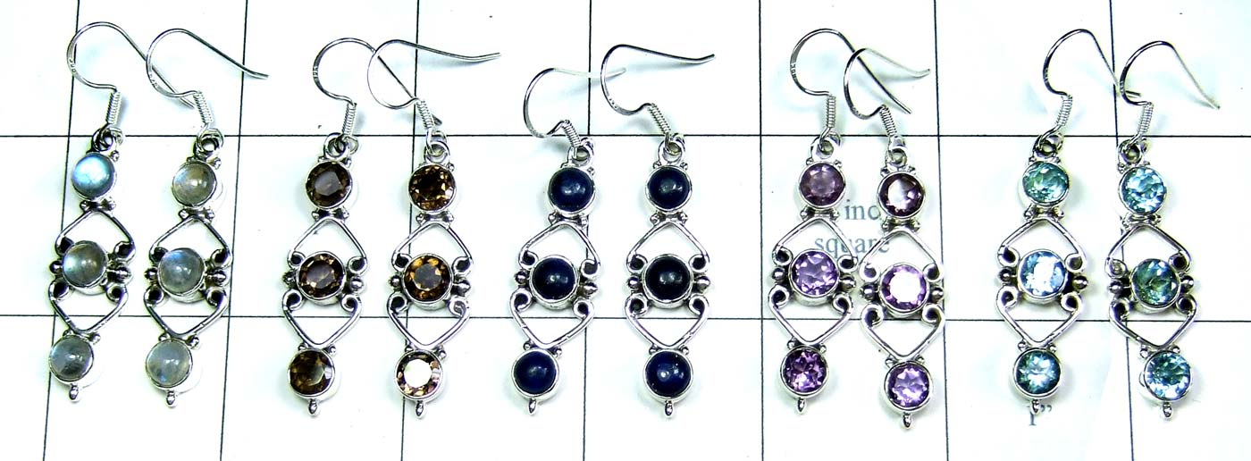 5 Pair Cut & Cab Earrings-jye148