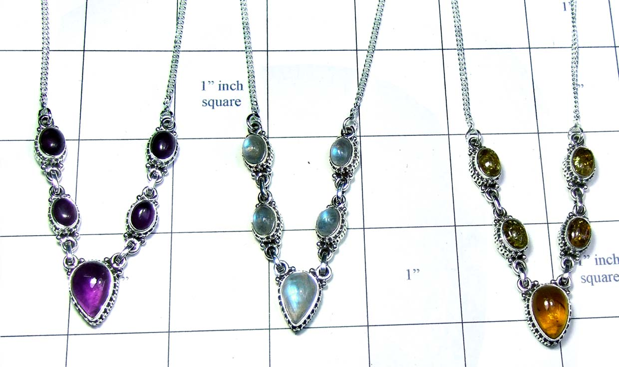 3 Pcs sterling silver gems Necklaces-jyn011