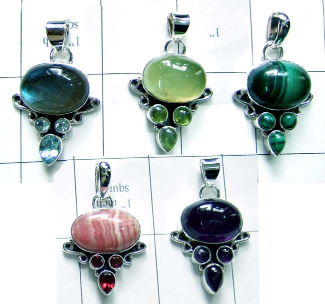 925 silver with Color gemstone Pendants-jyp004