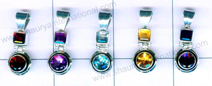Silver faceted 5 Pendants-jyp086