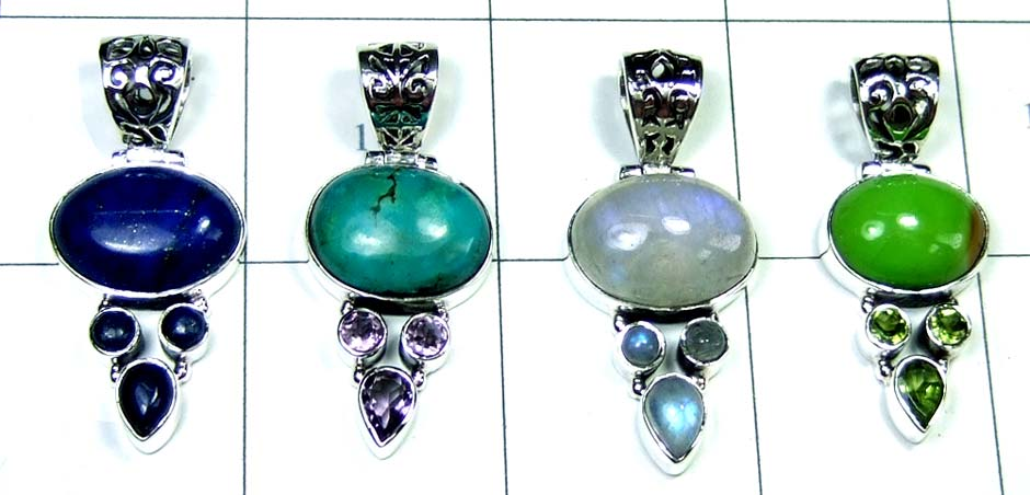 Sterling silver Pendants-4pcs-jyp132