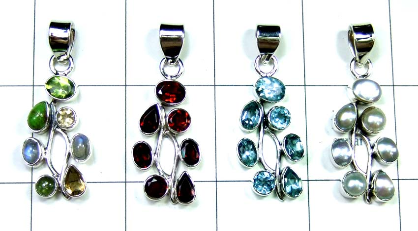 Sterling silver with gems Pendants-jyp199