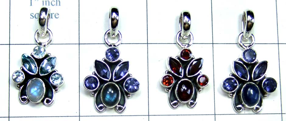 Wholesale silver gems Pendants 4 Pcs-jyp209