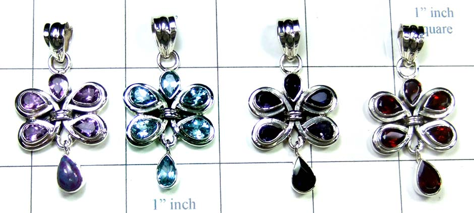 Sterling silver gems jewelry 4 Pcs-jyp211