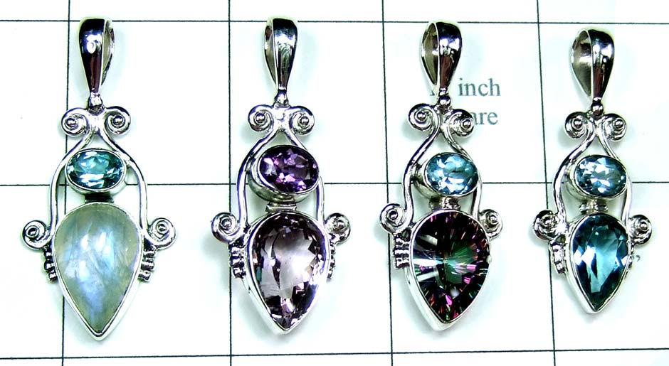4 Pcs Cut Stone Pendants-jyp227
