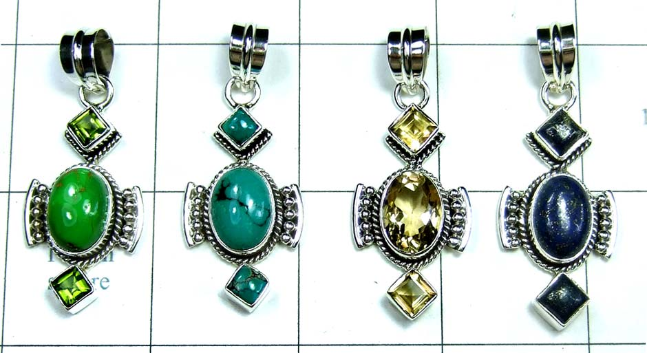 4 Pcs Cut & Cab Pendants-jyp232