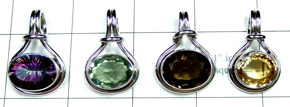 4 Pcs Cut Stone Pendants-jyp246
