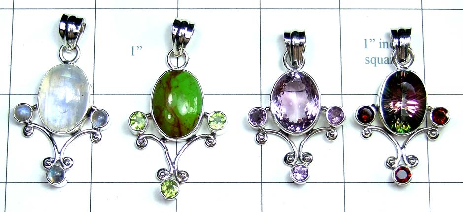 4 Pcs Cut & Cab Pendants-jyp249