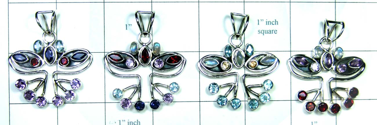 4 Pcs Cut & Cab Pendants-jyp250