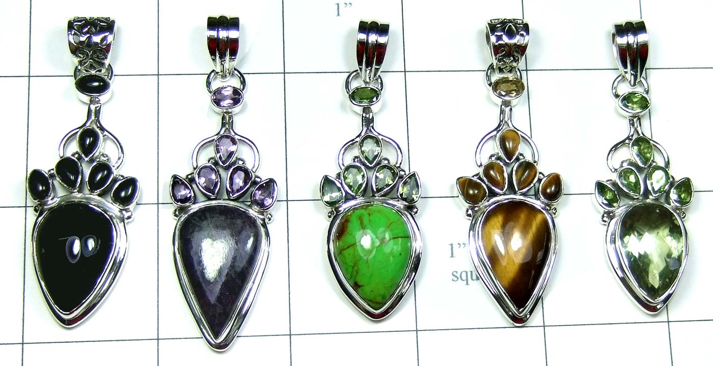 5 Pcs Cut & Cab Pendants-jyp282