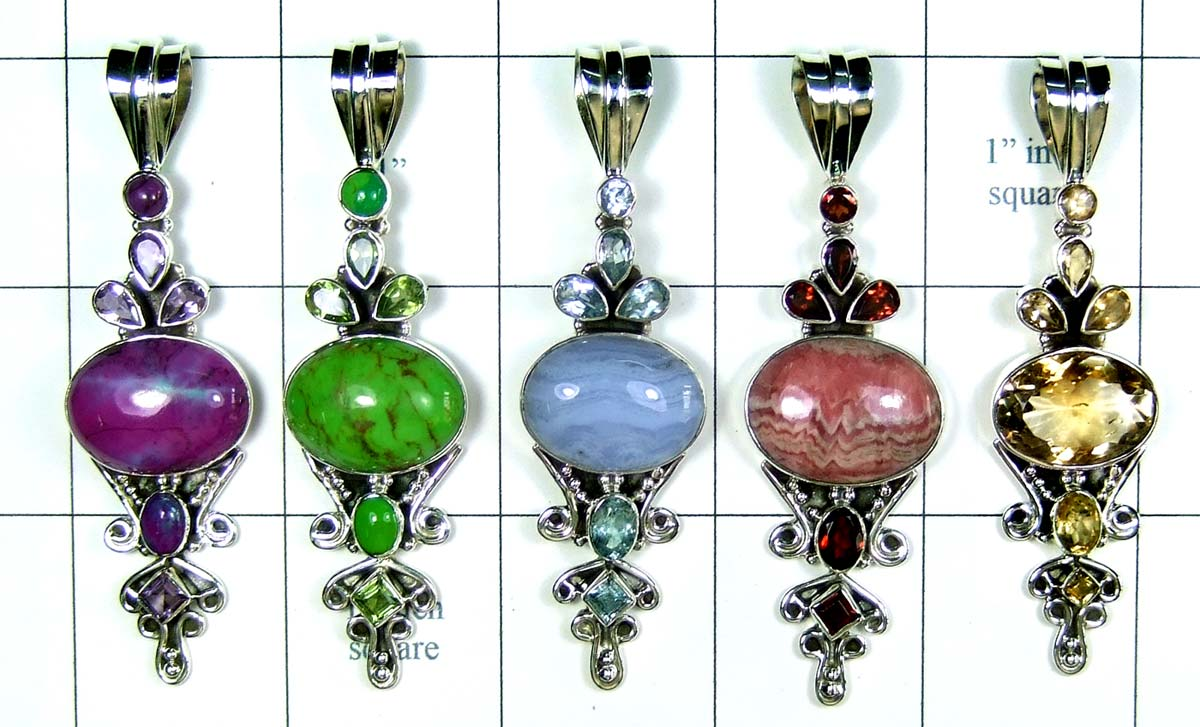 5 Pcs Cut & Cab Pendants-jyp293